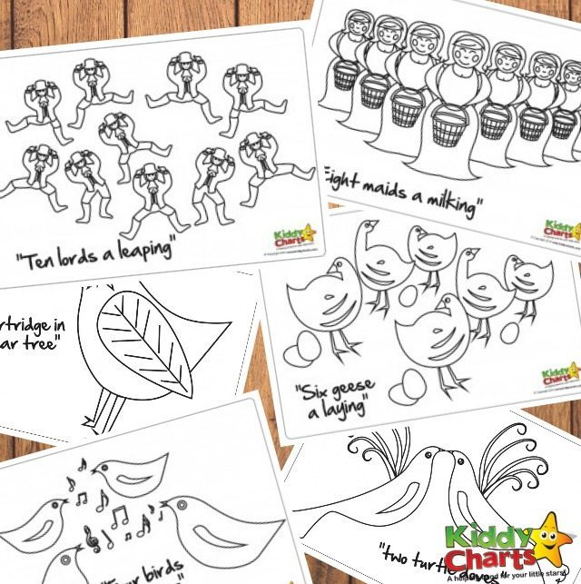 12 Days of Christmas colouring pages