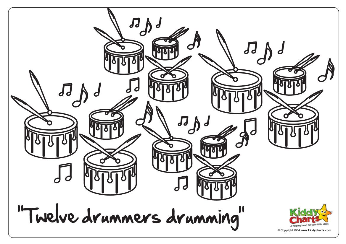 On The 12th Day Of Christmas 12 Drummers Drumming Twelve Days Of Coloring Pages