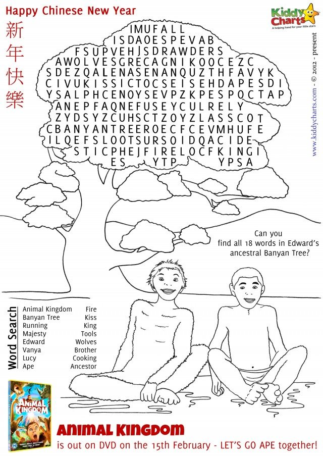 Here is our final activity sheet - a wordsearch under Edward's Banyan Tree; can you spot all the words from The Animal Kingdom film?