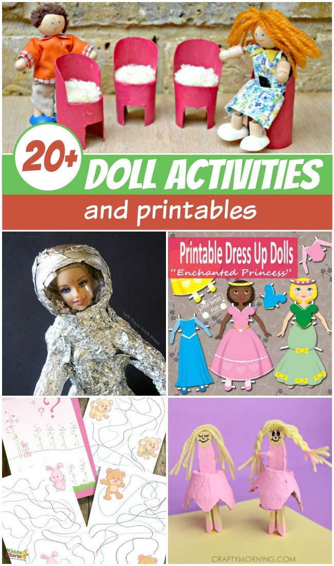 20+ Doll activities and printables round up for kids to have lots of fun