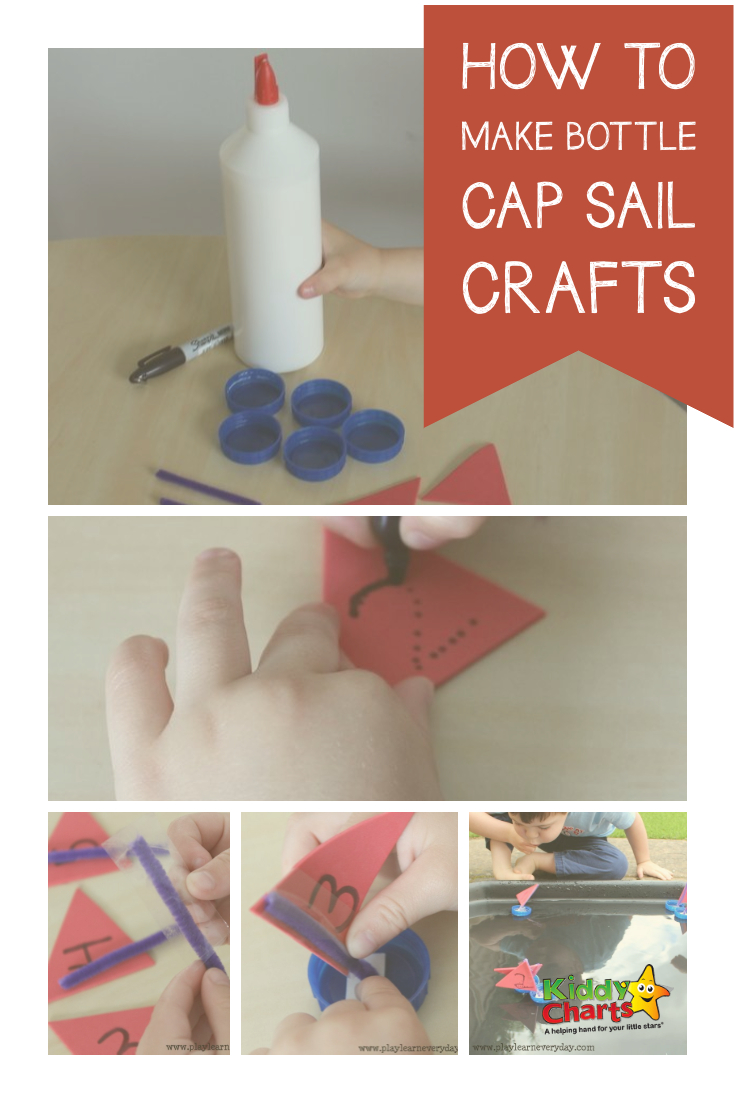 How to make bottle cap sail boats - so simple to do, why not pop over and check them out now? #kidsactivities #kids #crafts #boats
