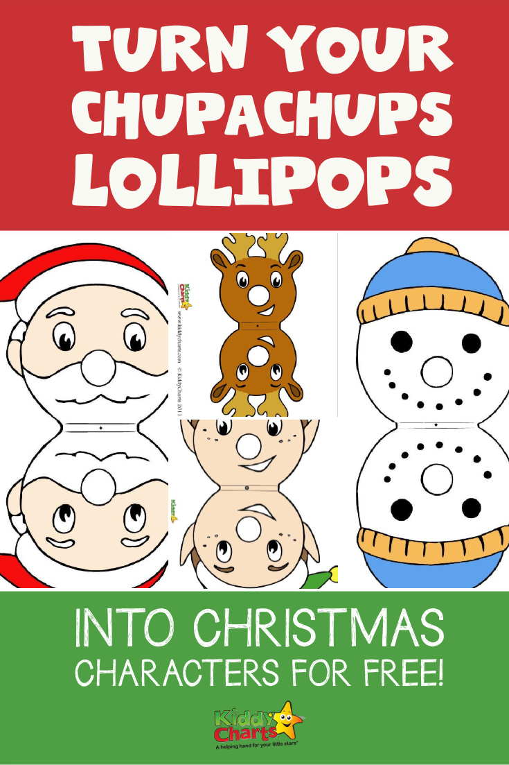 graphic relating to Pin the Nose on Rudolph Printable called Change Chupachups lollipops into Xmas people for absolutely free!