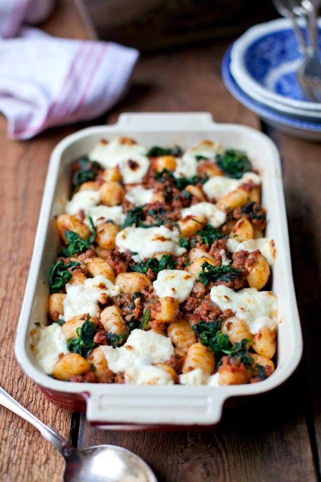Gnocchi bolognese with spinach and marscapone