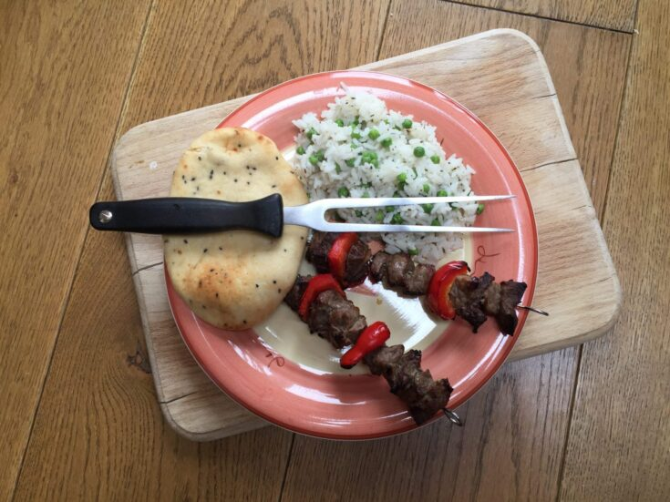 Honey glazed kebabs with pea and mint rice #liveslow