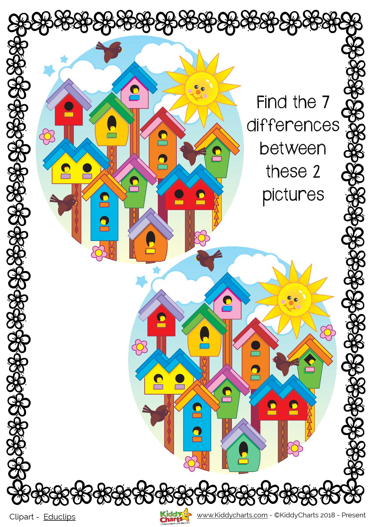 A gorgeous summer spot the difference - and there are even more activities like this on the site #summer #kids #printables