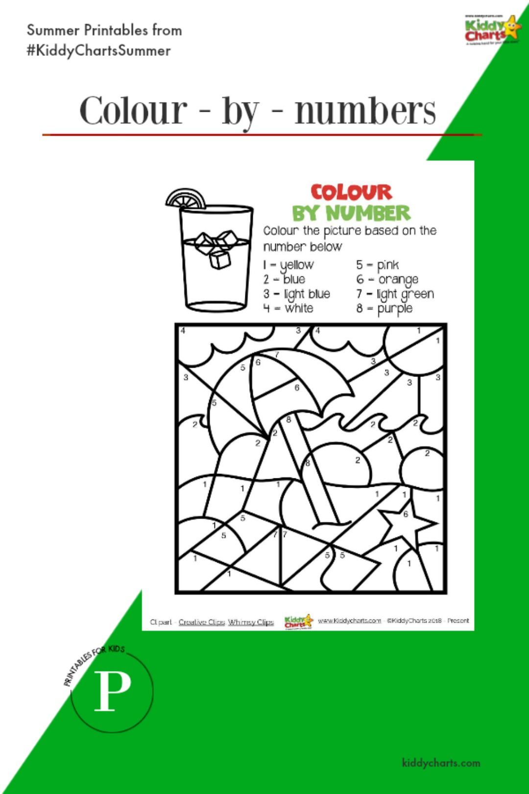 Summer colour by numbers in day one of our countdown. See more on the site! #kids #printables #summer #colouring