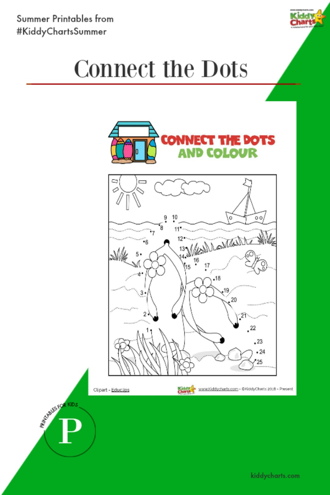 Summer activities for the kids - free printables, a connect the dots this time, and more on the site #summer #printables #kids