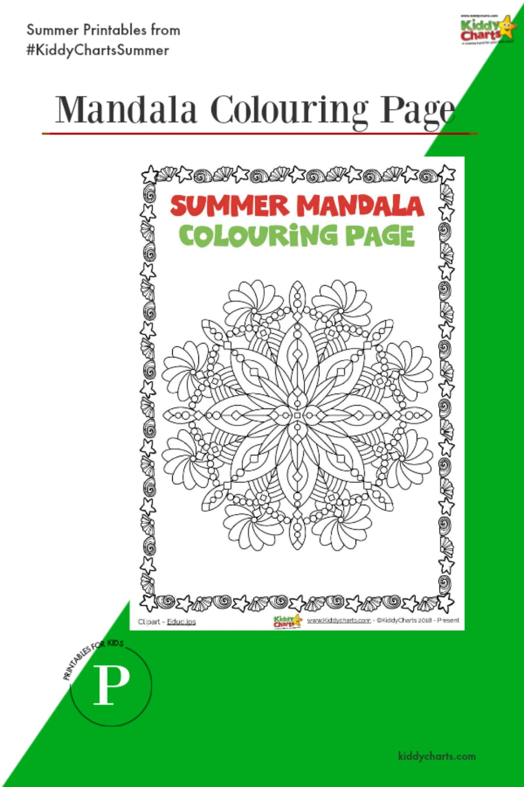 We all love a mandala and here is a gorgeous summer mandala colouring page for you to colour in. Pop over to the site for more fun summer activities and loads of other printables too! #printables #kids #summer