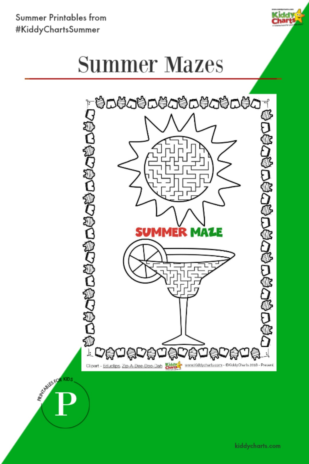 Who doesn't love a maze activity - we have two summer ones for you. Visit the blog for more wonderful summer printables! #kids #summer #printables