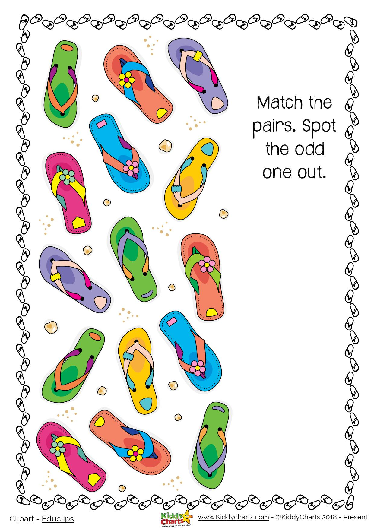 We love a flip flop - but can you find the odd one out in our summer activity - loads more on the site too! #summer #kids #activities #prtinables