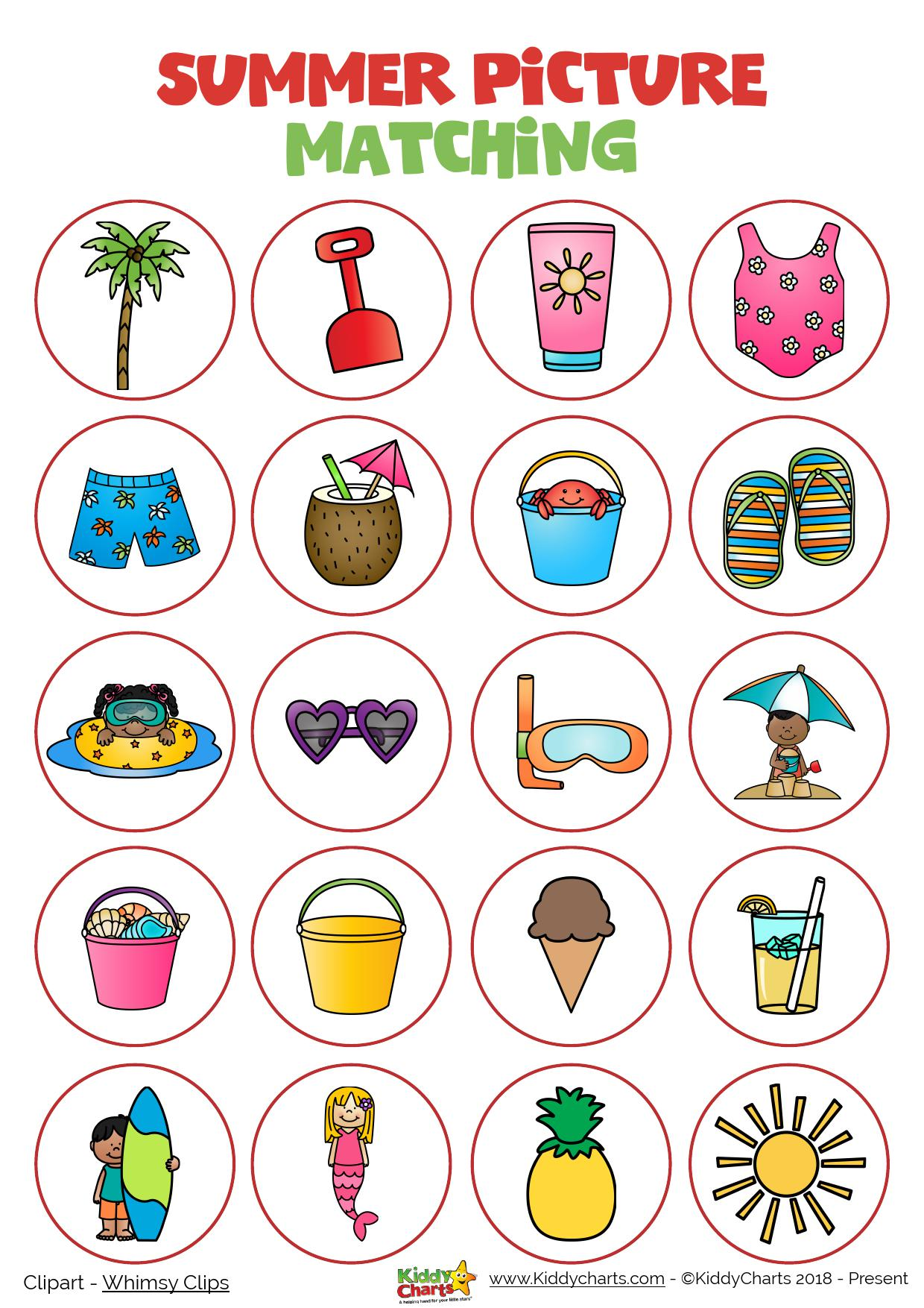 Summer matching picture game for the kids - why not check out the other activities on the site too! #printables #kids #summer