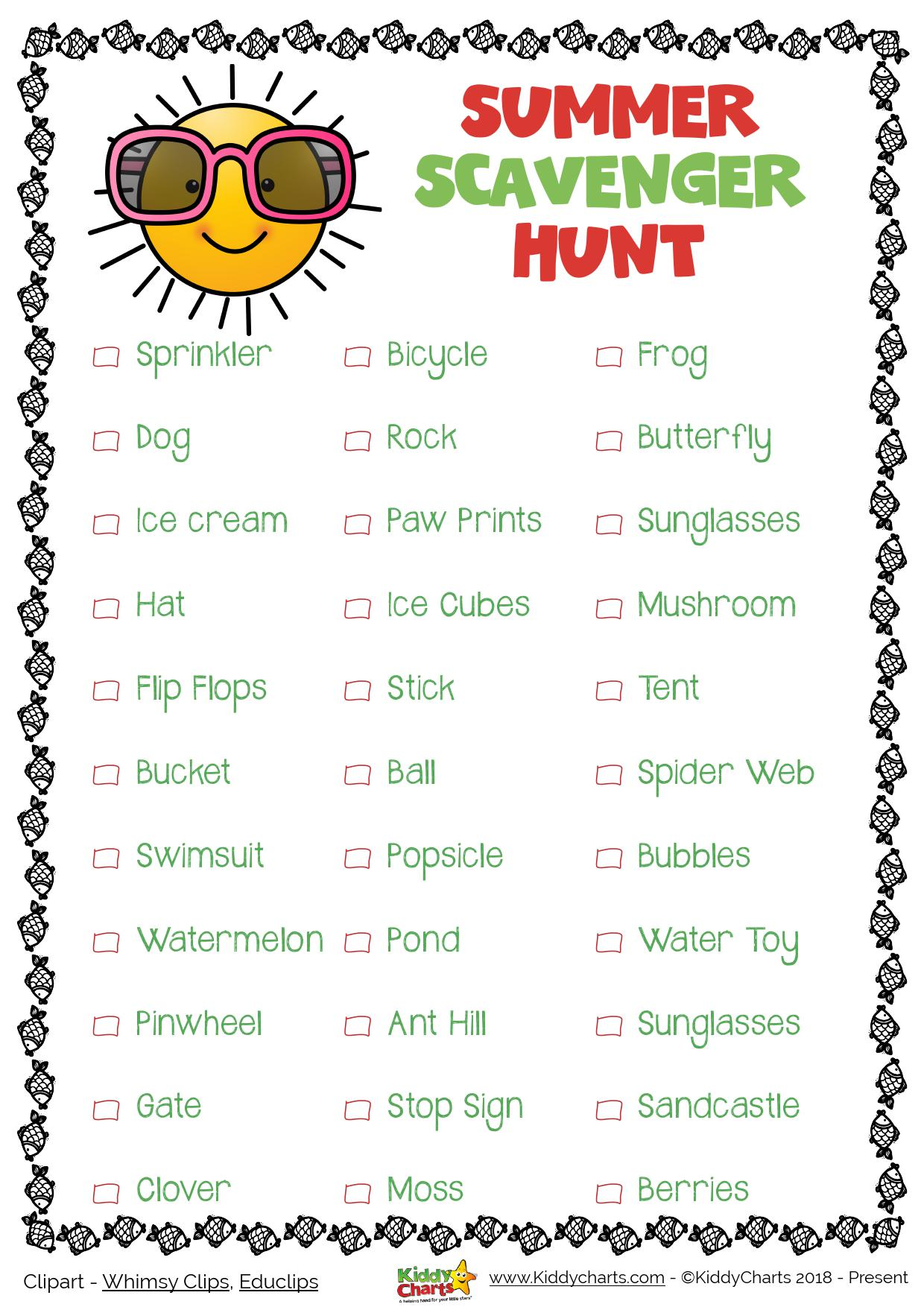 Hre is a summer scavenger hunt for you to try - lots of great things to look for. Why not visit the site for the other summer activities we have as well? #summer #printables #kids