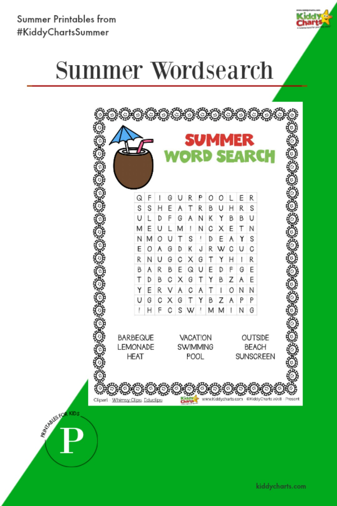 A summer wordsearch for the kids to try out - alongside all our other activities for the summer. Why not check them out on the site? #printables #kids #summer