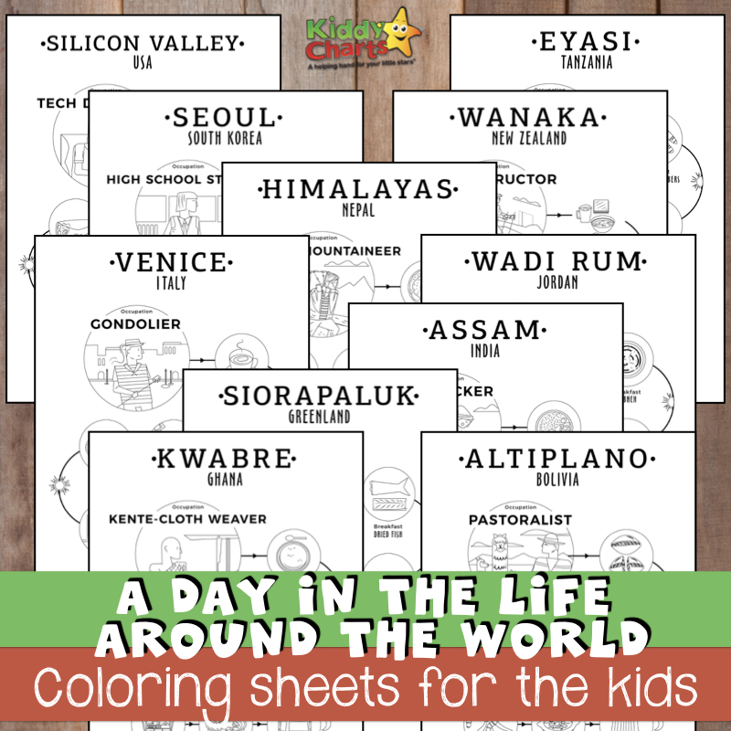 A day in the life around the world - Coloring sheets for the kids IG.001
