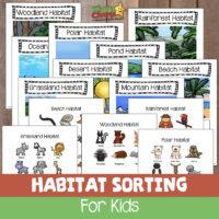 Animal habitats sorting game for kids: Free printable