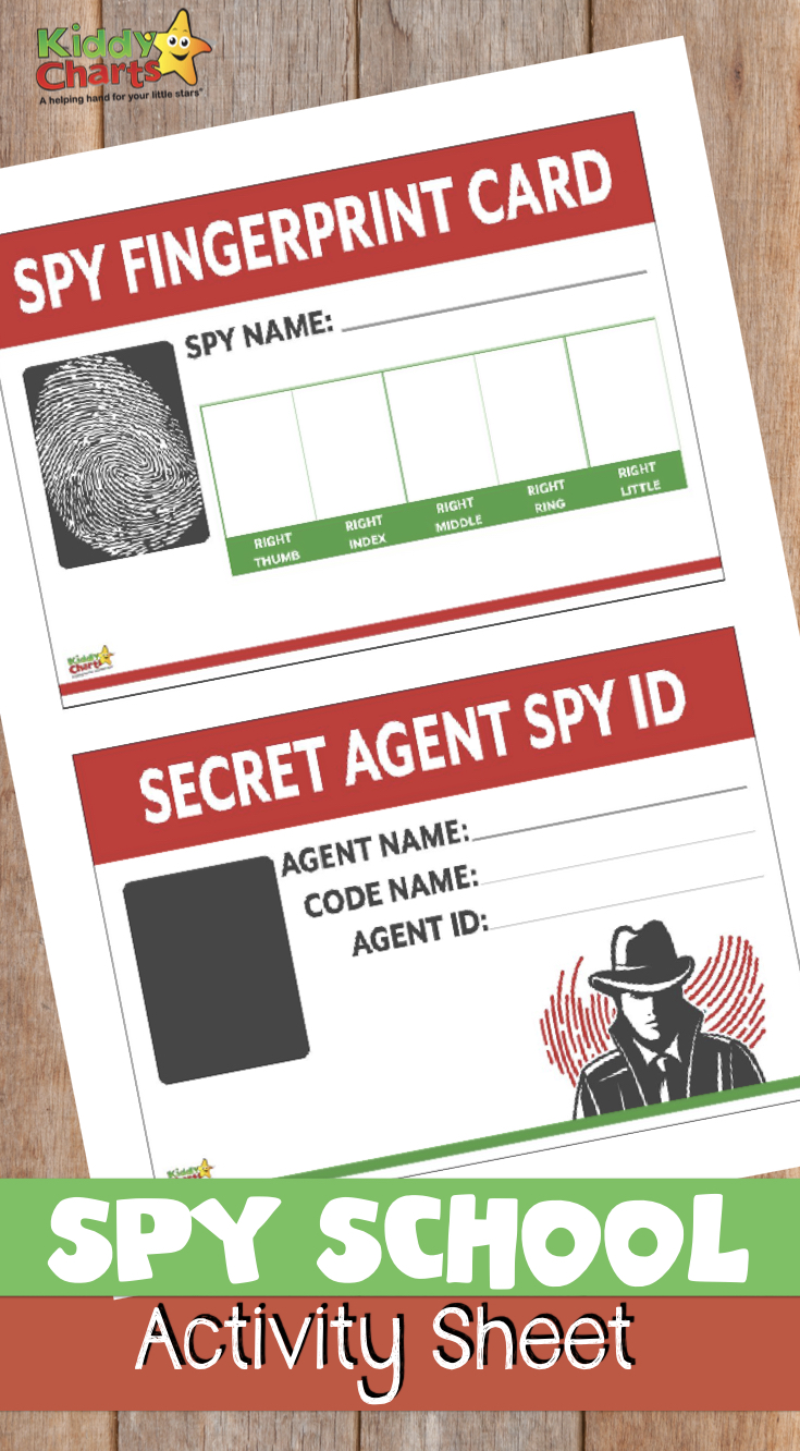 Do you have aspiring spy kids - then check out this spy school activity sheet including a fingerprint card and a secret agent ID! #spies #jamesbond #printables #kidsactivities
