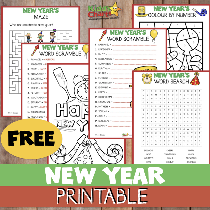 Come to the site and download 5 fabulous free New Year activities for the kids! #NewYear #Printables #KidsActivities