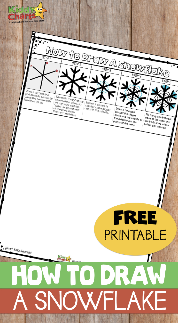 How to draw a snowflake - simple instructions for you to print out NOW and do with the kids! #winter #snowflakes #kidsactivities #kids