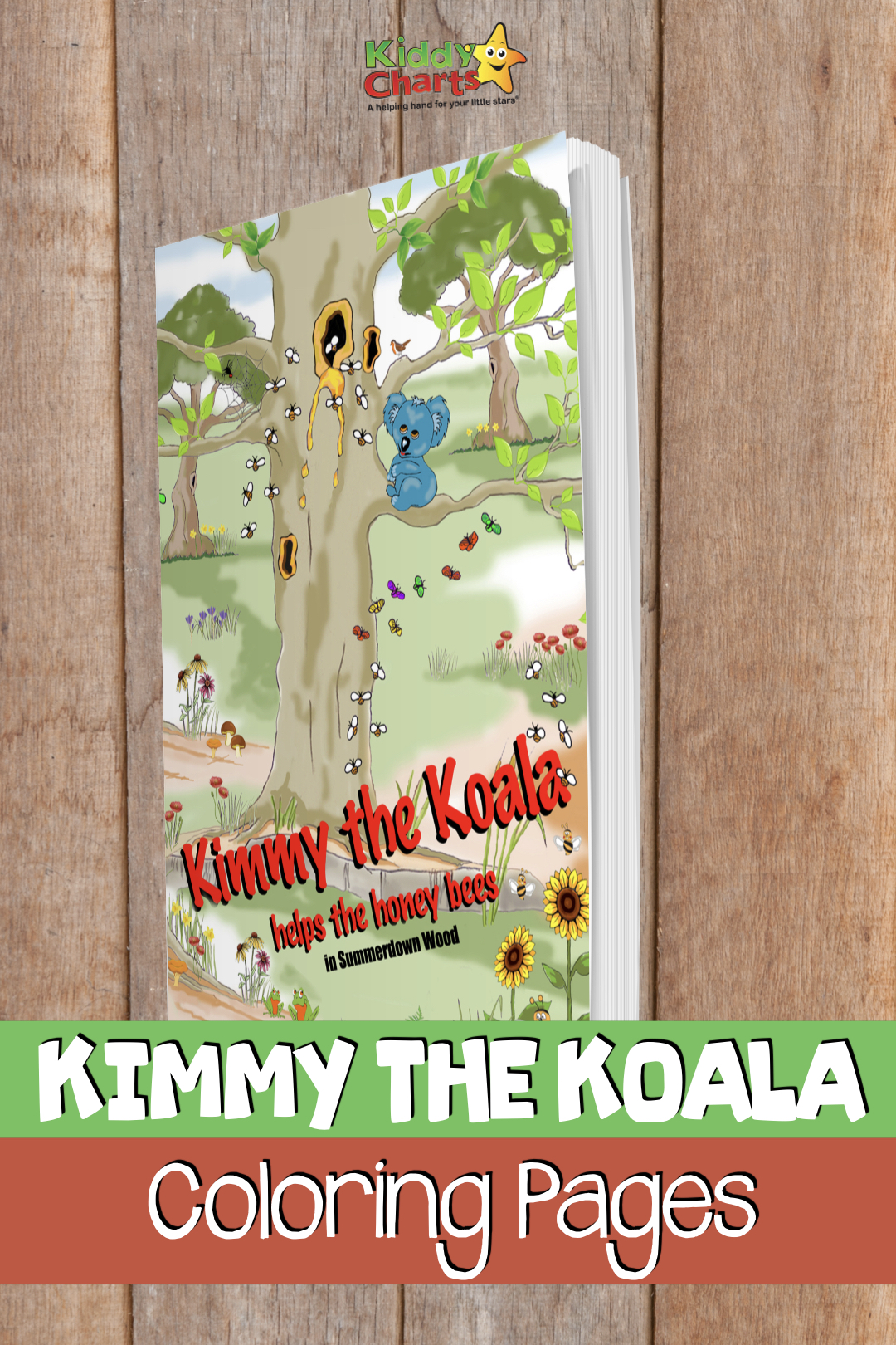 We have a lovely new treat for you today; some koala coloring pages, and other fabulous characters too, from a wonderful new book; Kimmy the Koala Helps the Honey Bees.