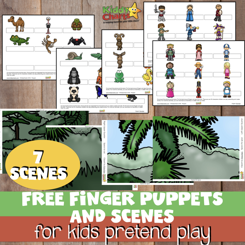 We've got some amazing FREE finger puppets for pretend play or imaginative play with your kids. Including backgrounds for them to use them with. A wonderful way to keep the kids entertained. Download them NOW! #kidsactivities #puppets #pretendplay