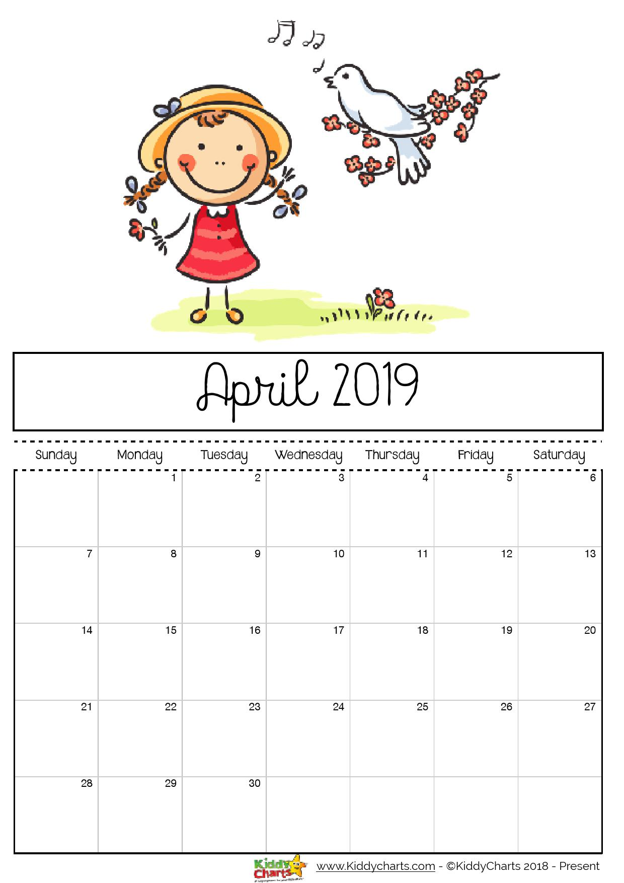 April printable 2019 calendar sheet - dove singing to a little girl. Cute isn't it? #Printable #2019calendar #kidsprintables