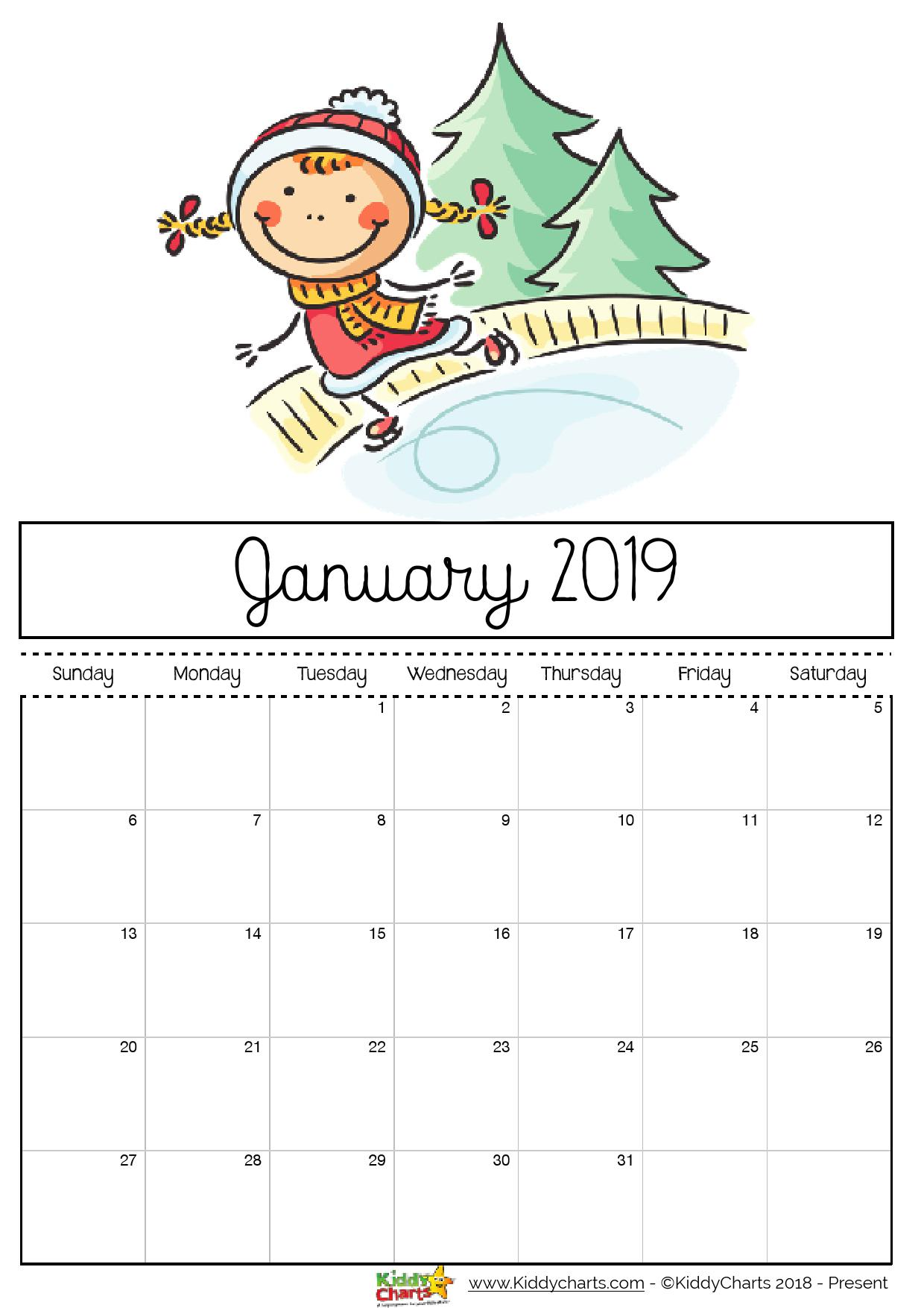 Girl playing on an ice rink. Perhaps something you can do too?!? #calendar2019 #printables #kidsprintables