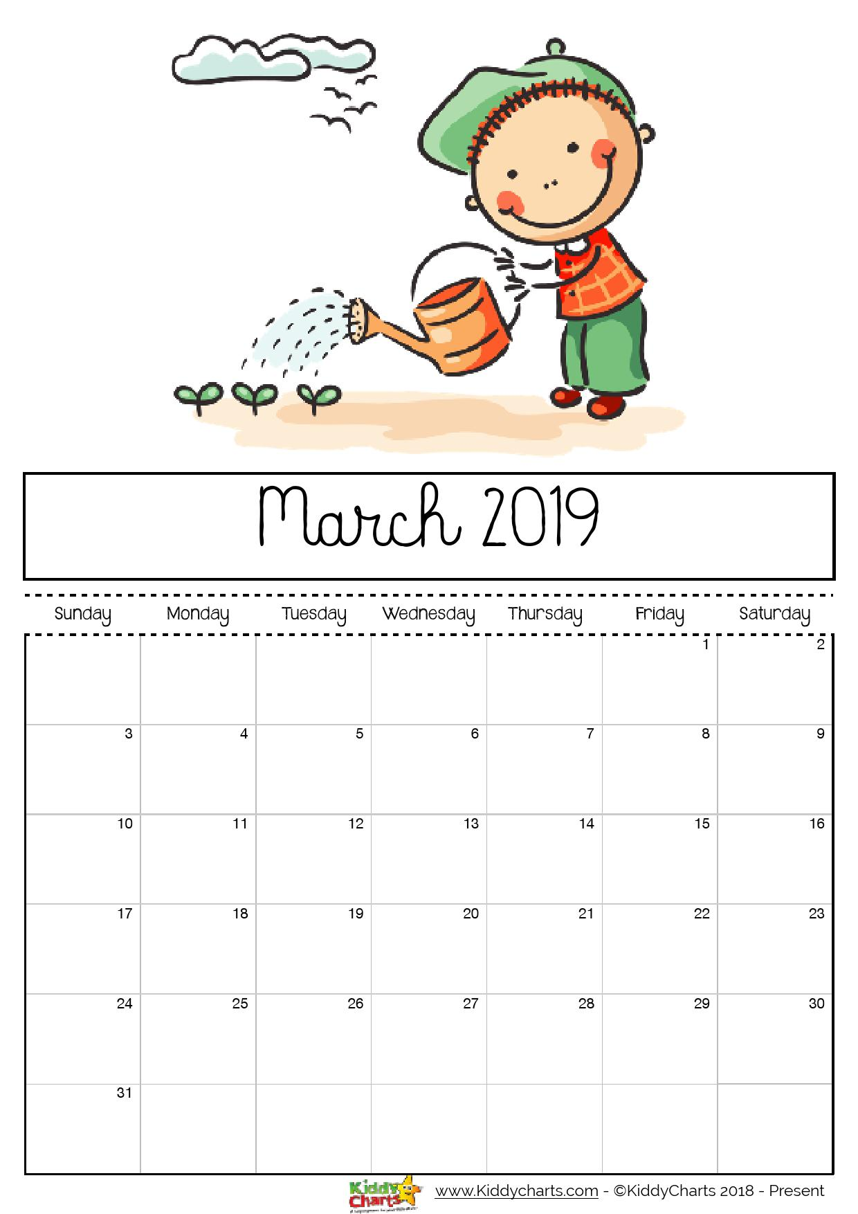 march printable 2019 calendar girl watering her garden with a watering can she can