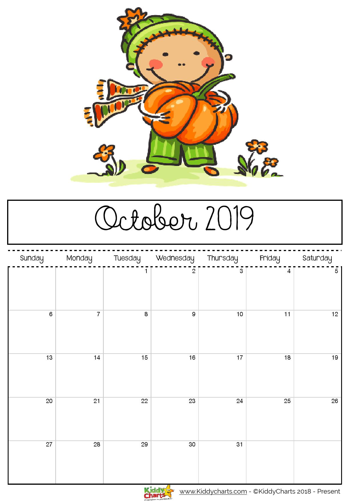 Boy with a pumpkin, and it is so very nearly pumpkin time! #printables #kidsprintables #2019calendar