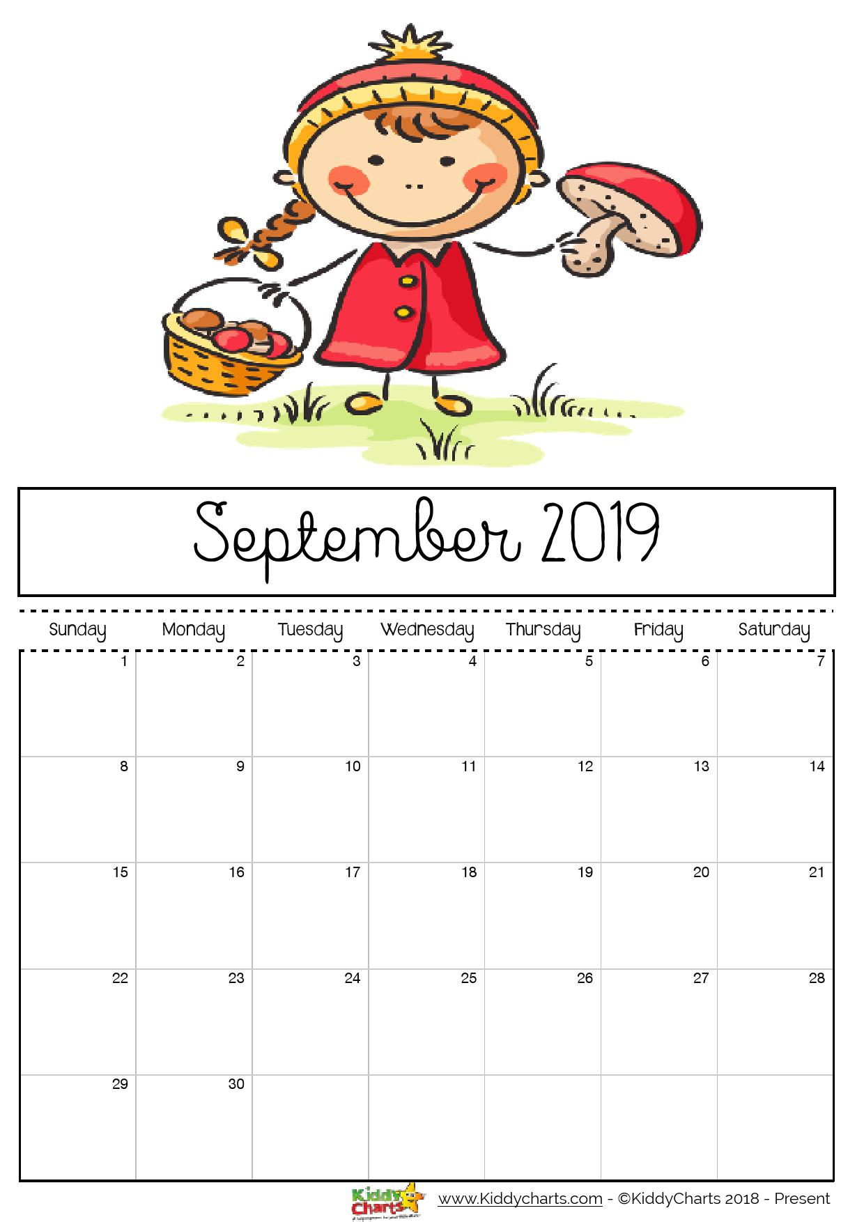 September printable 2019 calendar; girl foraging for mushrooms. What a great idea for September too! #printables #freeprintables #2019calendar