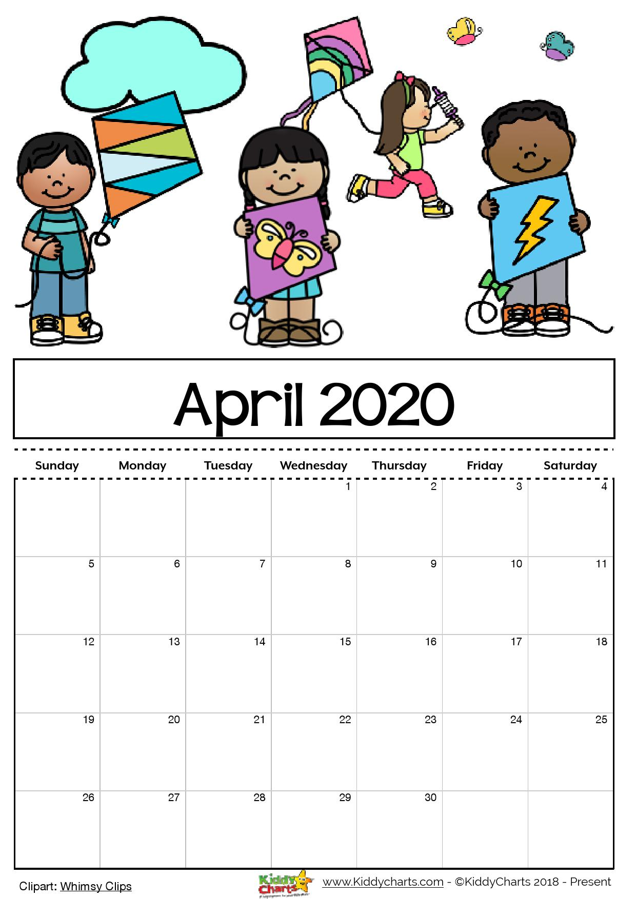 Free Printable 2020 calendar for kids, including an ...