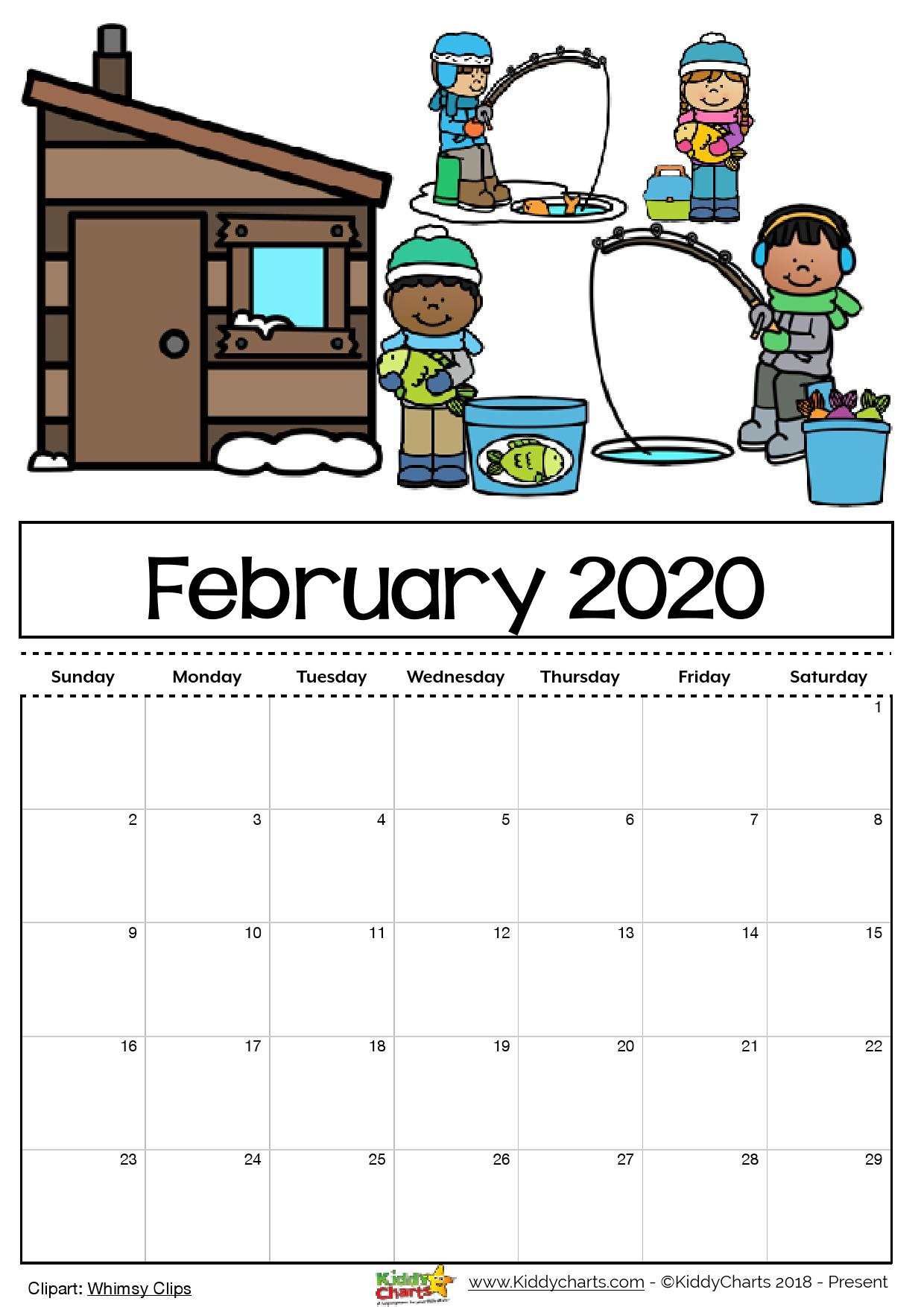 February Calendar 2020 Printable Cute Free Printable 2020 calendar for kids, including an editable version