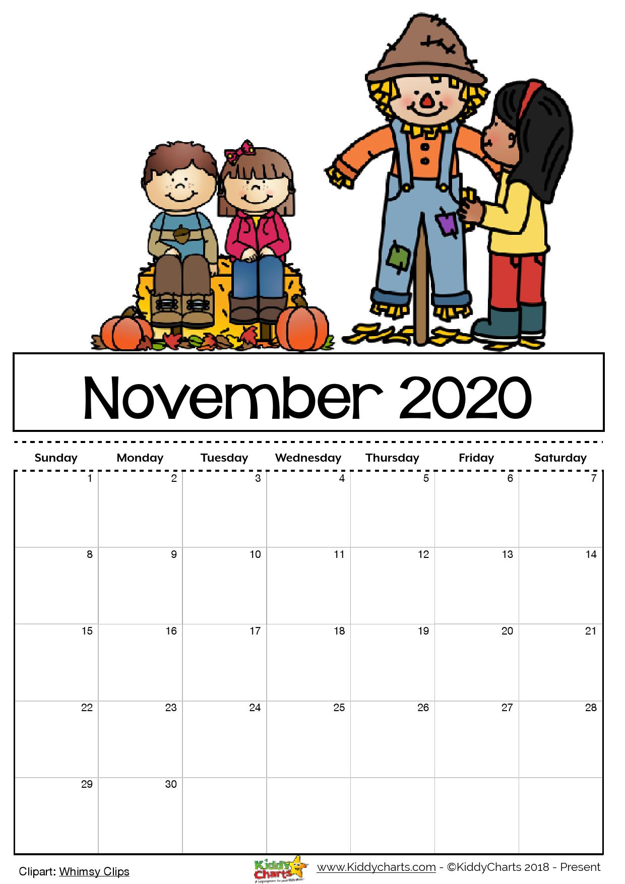 This is a photo of Smart Printable November 2020 Calendars