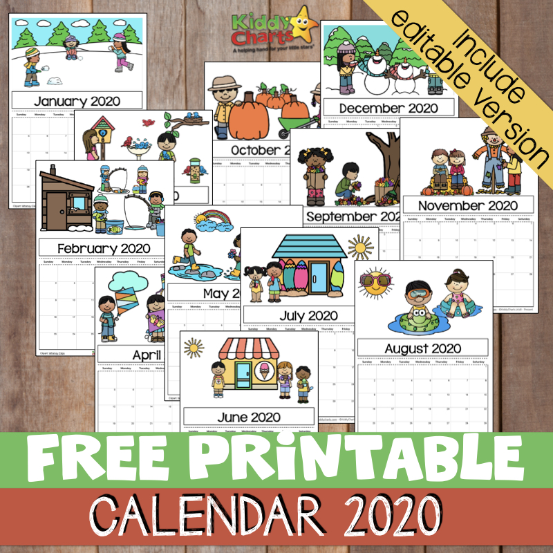 Kids December Calendar 2020 Free Printable 2020 calendar for kids, including an editable version