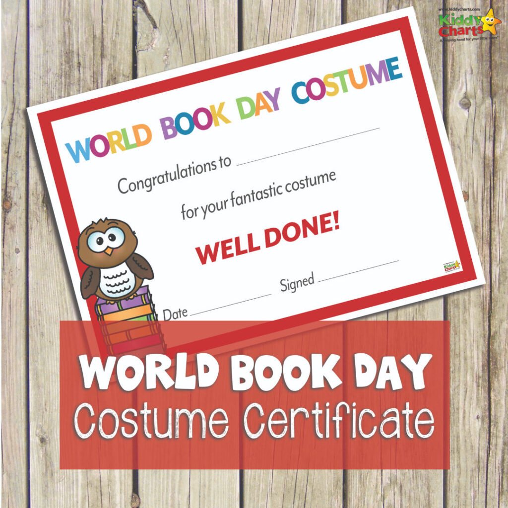 World Book Day costume certificate for kids and parents