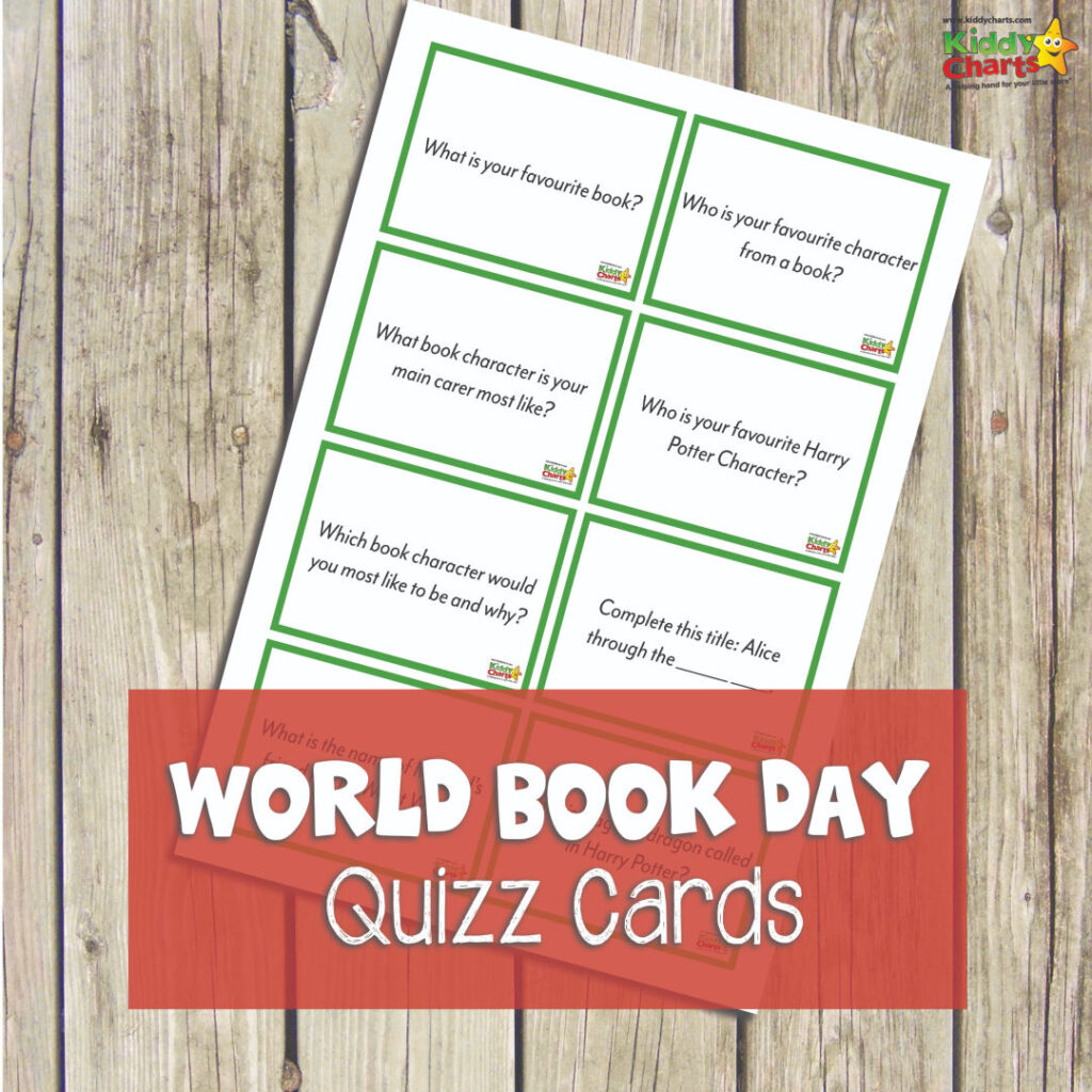 World Book Day quiz cards for kids and parents