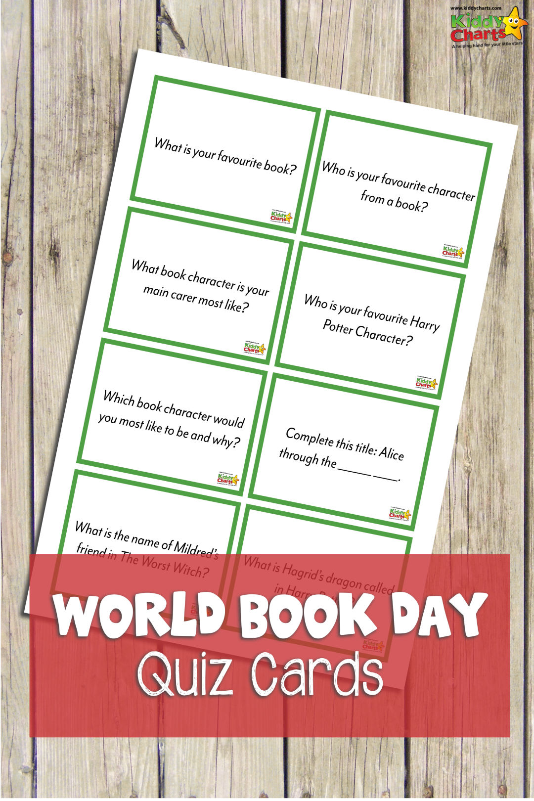 World Book Day Quiz cards are a great way to encourage kids to talk about their favourite books and characters - why don't you print them out today! #worldbookday #reading #kids #free #printables #learning