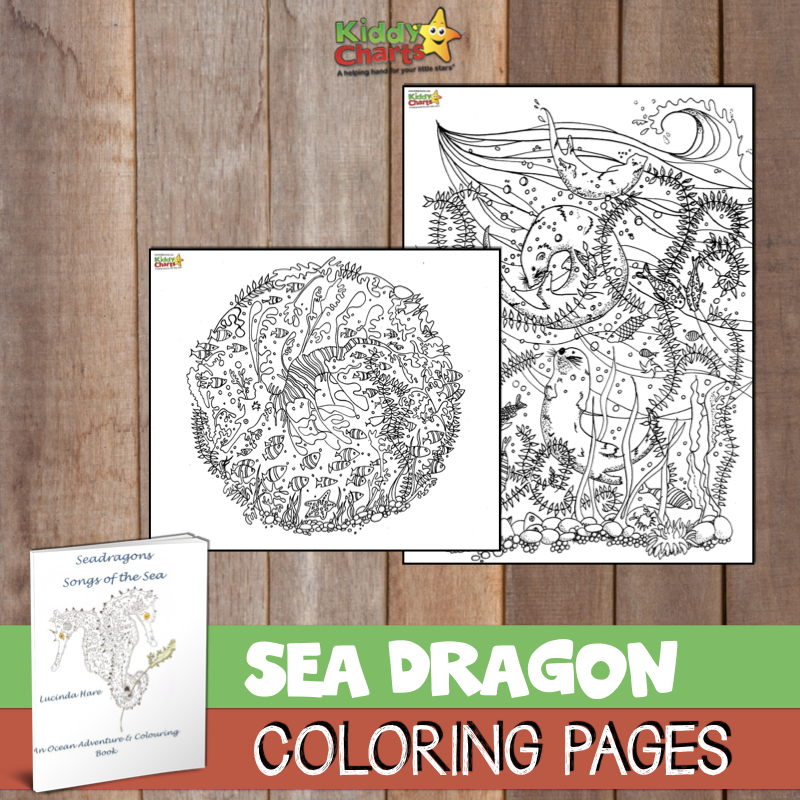 Dragon coloring pages from the sea dragon coloring book by Lucinda Hare #coloring #dragons #kidscoloring #coloringpages