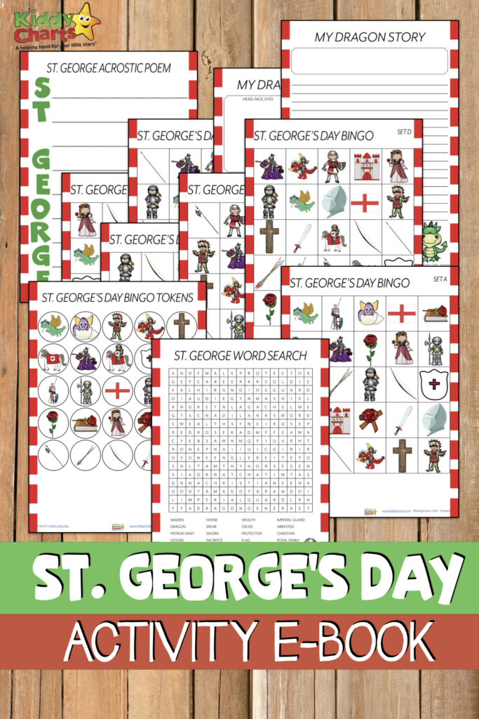 How about a St George's Day activities eBook - we love a good eBook and there aren't enough St George's Day activities out there. We are redressing the balance! Come visit and download today. #ebooks #stgeorgesday #stgeorge #kids #freeprintables #freestuff #kidsactivities