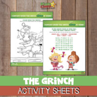 The Grinch activity sheets  (Dr Seuss)
