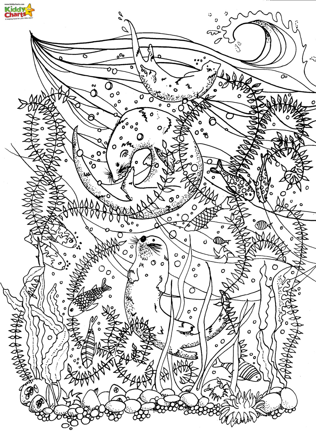 Sea dragon coloring page with a seal, fish and sea grass.