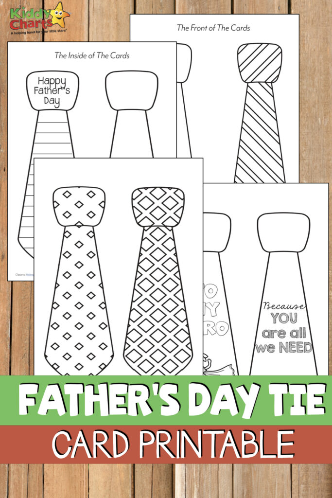 free printable Father's day tie card.