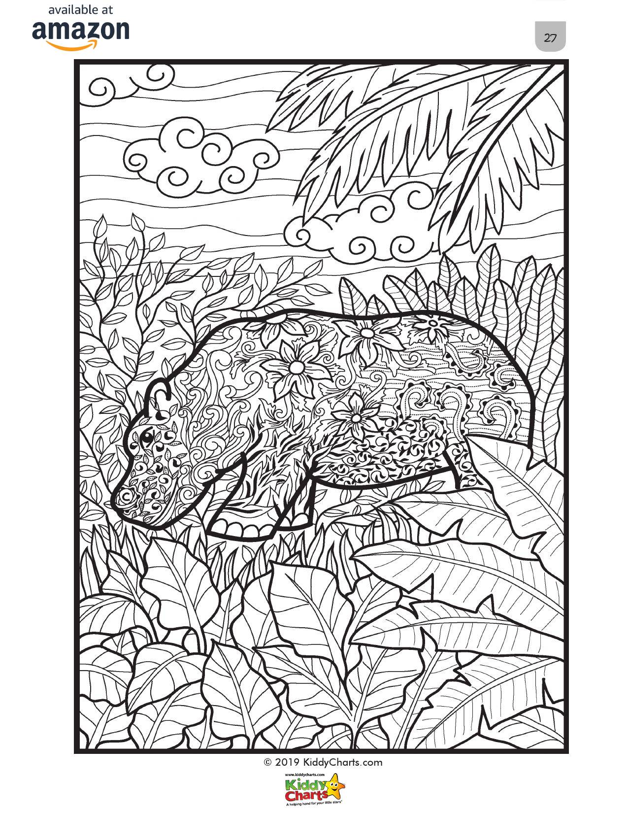 Our Hippo mindful coloring page for adults, part of our mindful coloring book. Get this for free and check out the rest! #coloring #colouring #animals #kids #adultcoloring #kidscoloring #hippos #nature #coloringbook #coloringbooks #freestuff