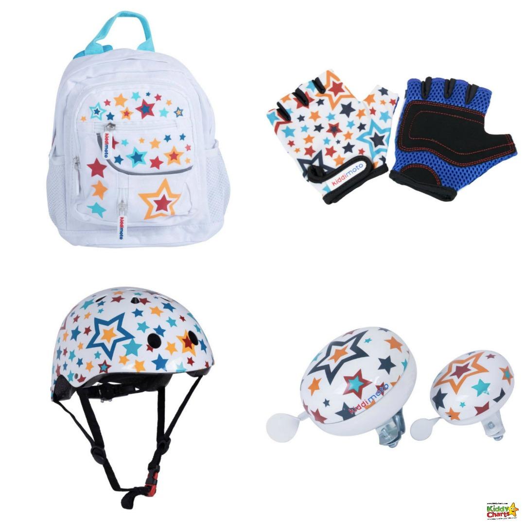 Kiddimoto backpack, gloves, helmet and bell - boredom busters gift guide