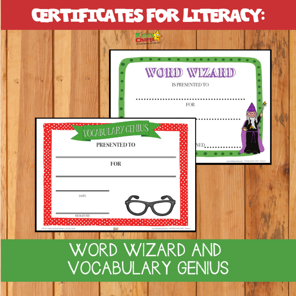Certificates for literacy. Word wizard, and vocabulary genius. writing based activities for kids