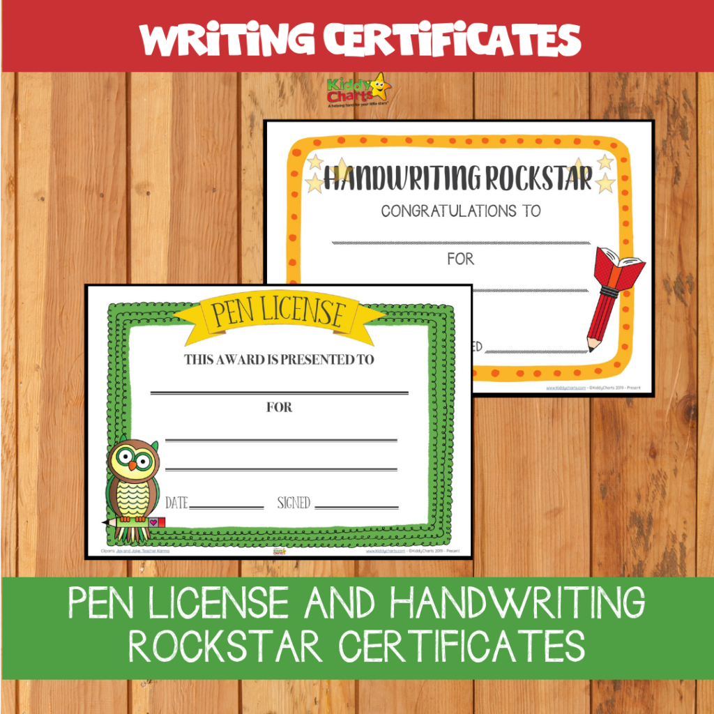 Pen license and handwriting rockstar certificates