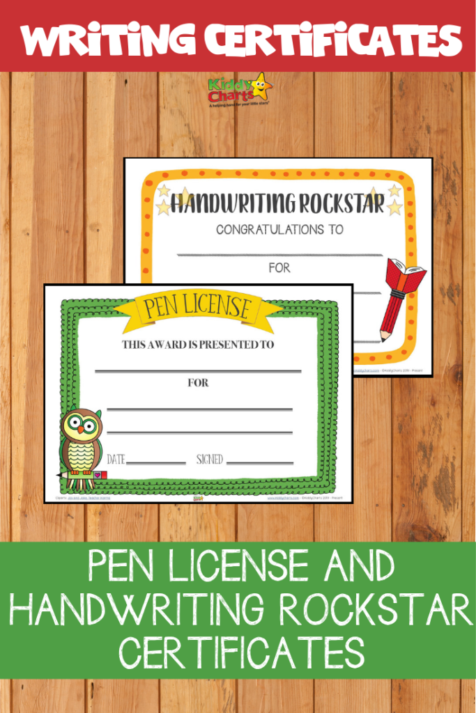 Our pen license and handwriting rockstar certificate printables will help encourage your child to master penmanship by using better handwriting skills. #WritingCertificate #Printable