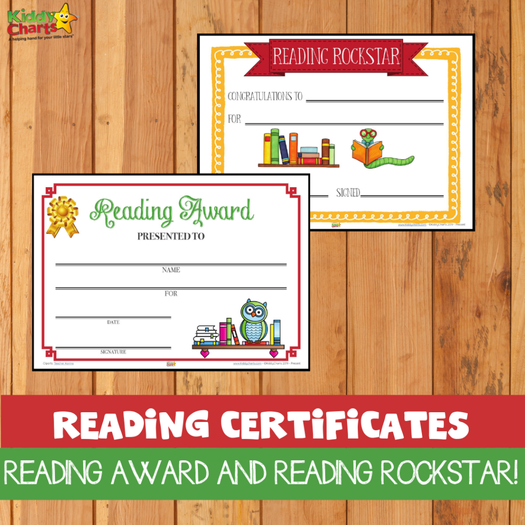 Reading certificates reading award and reading rockstar for kids and parents