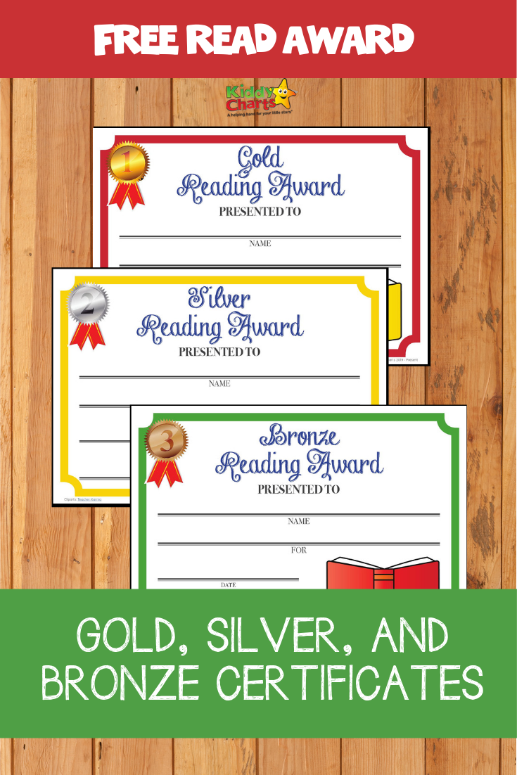 Free gold, silver and bronze reading award certificates