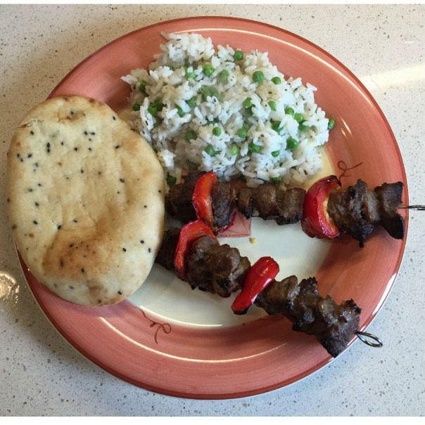 honey glazed kebabs with pea and mint rice recipe