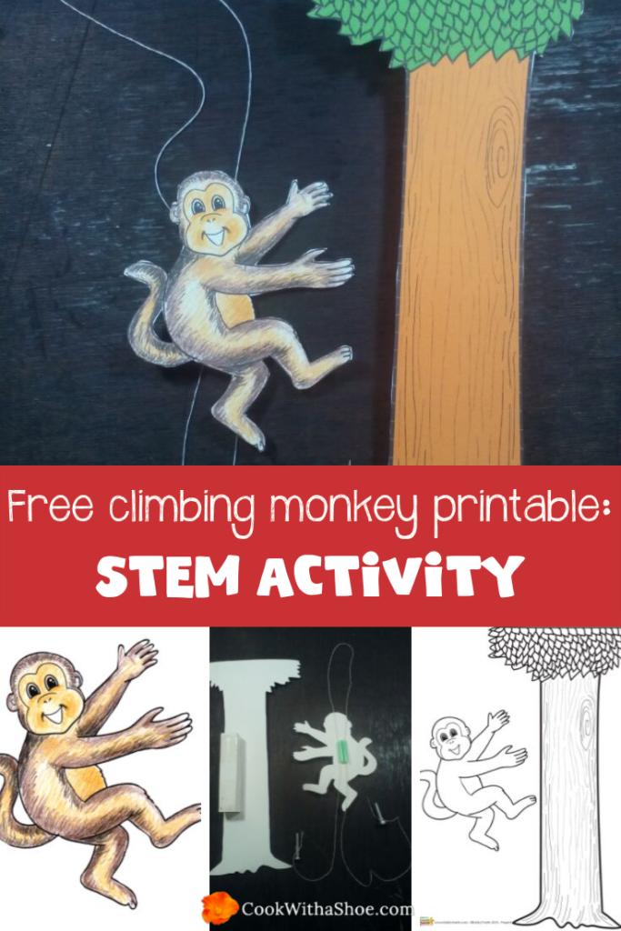 STEM activities for kids: Free climbing monkey printable